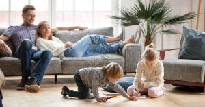 Picture of a family relaxing at home